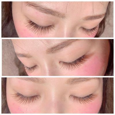 Single lash〜khaki brown×orange brownJcurl/0.15/9㎜.10㎜.10㎜/170本